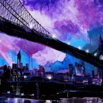 "Brooklyn Bridge 1920, Mixed Media on Canvas, 36x24"", 2011"