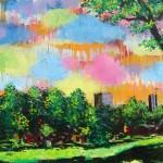 "Corey Hill Park, acrylic and enamel on wood panel, 38x24"", 2013"