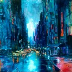 """Downtown, oil on canvas, 54x36"""", 2015, SOLD"""