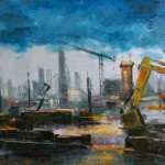 "Seaport Construction 2, oil on canvas, 36x24"", 2014, SOLD"