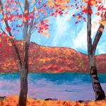 "Lake George Morning. mixed media on panel, 8x8"", 2013"