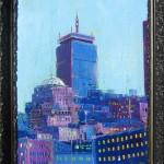 "Pru, mixed media on wood panel, framed, 26x34"", 2013"