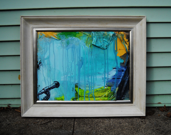 "Mixed Media and Collage on Canvas (framed), 24x18"", 2009"