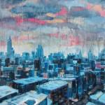 "West Villiage Winter, oil on panel, 48x36"", 2014"