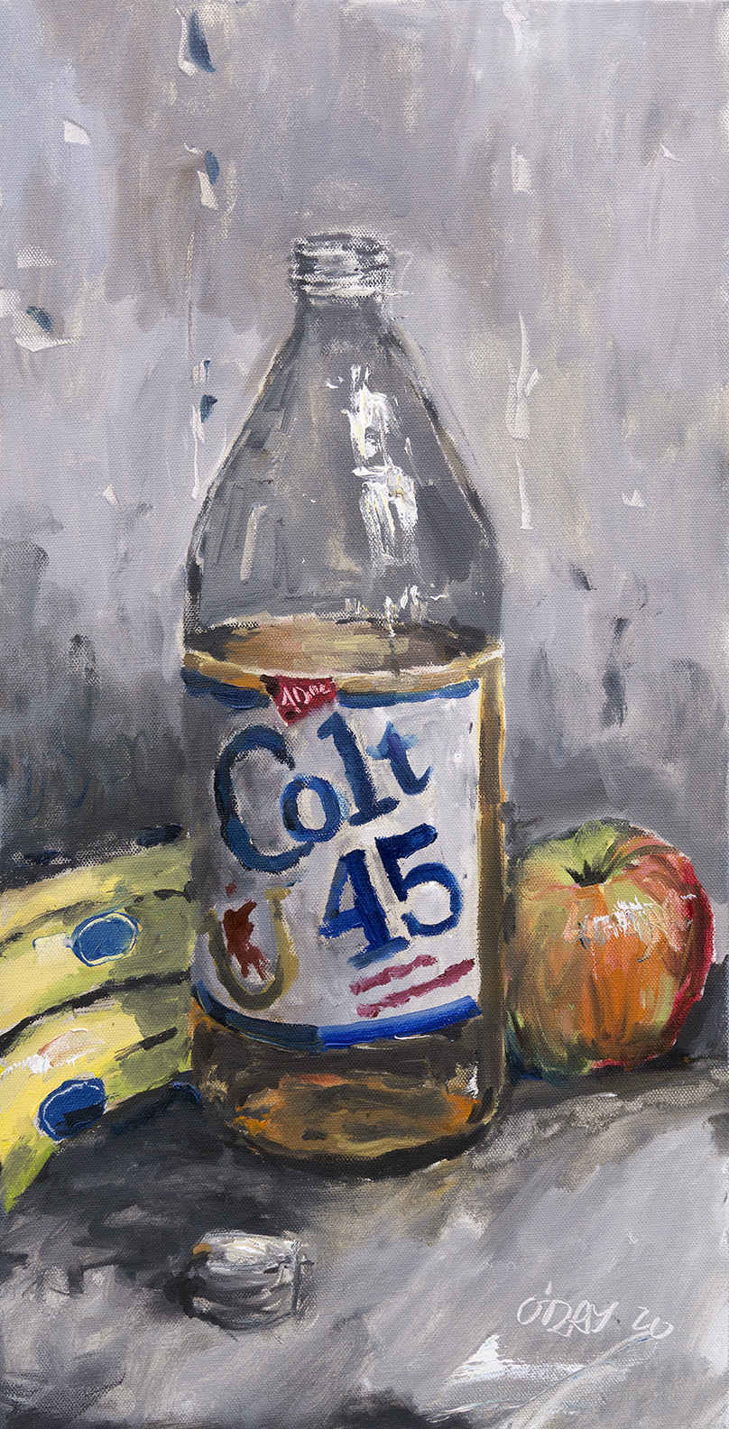 """Colt 45, oil on canvas, 30x15"""", 2020 SOLD"""