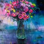 "Neon Bouquet, oil on canvas, 60x48"", 2020"