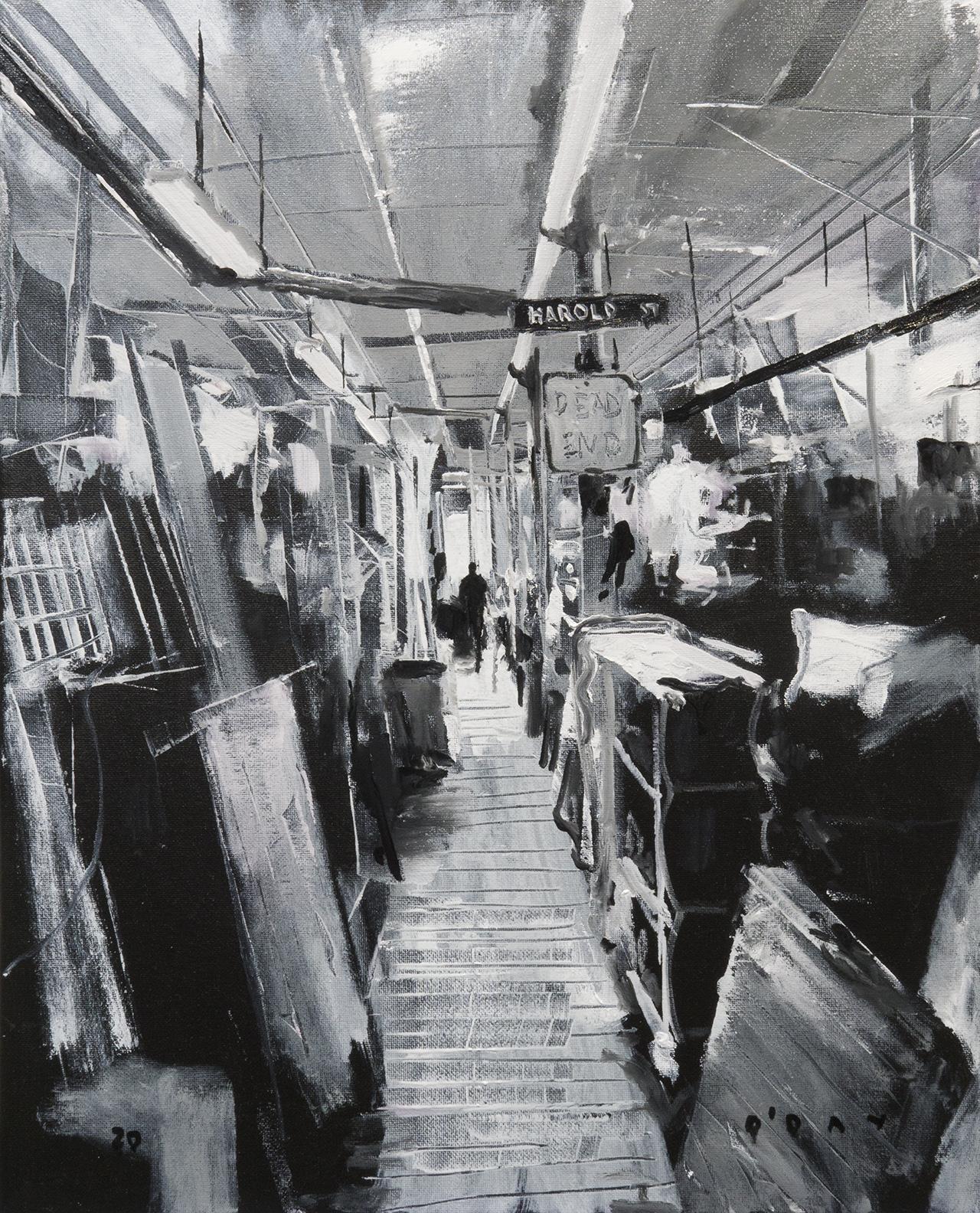 "Jay's Studio, oil on canvas, 20x16"", 2020 SOLD"