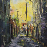 "Jersey City Alley, oil on canvas, 48x36"" 2018"