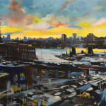 "Pulaski Bridge at Sunset, oil on canvas, 42x76"", 2018"