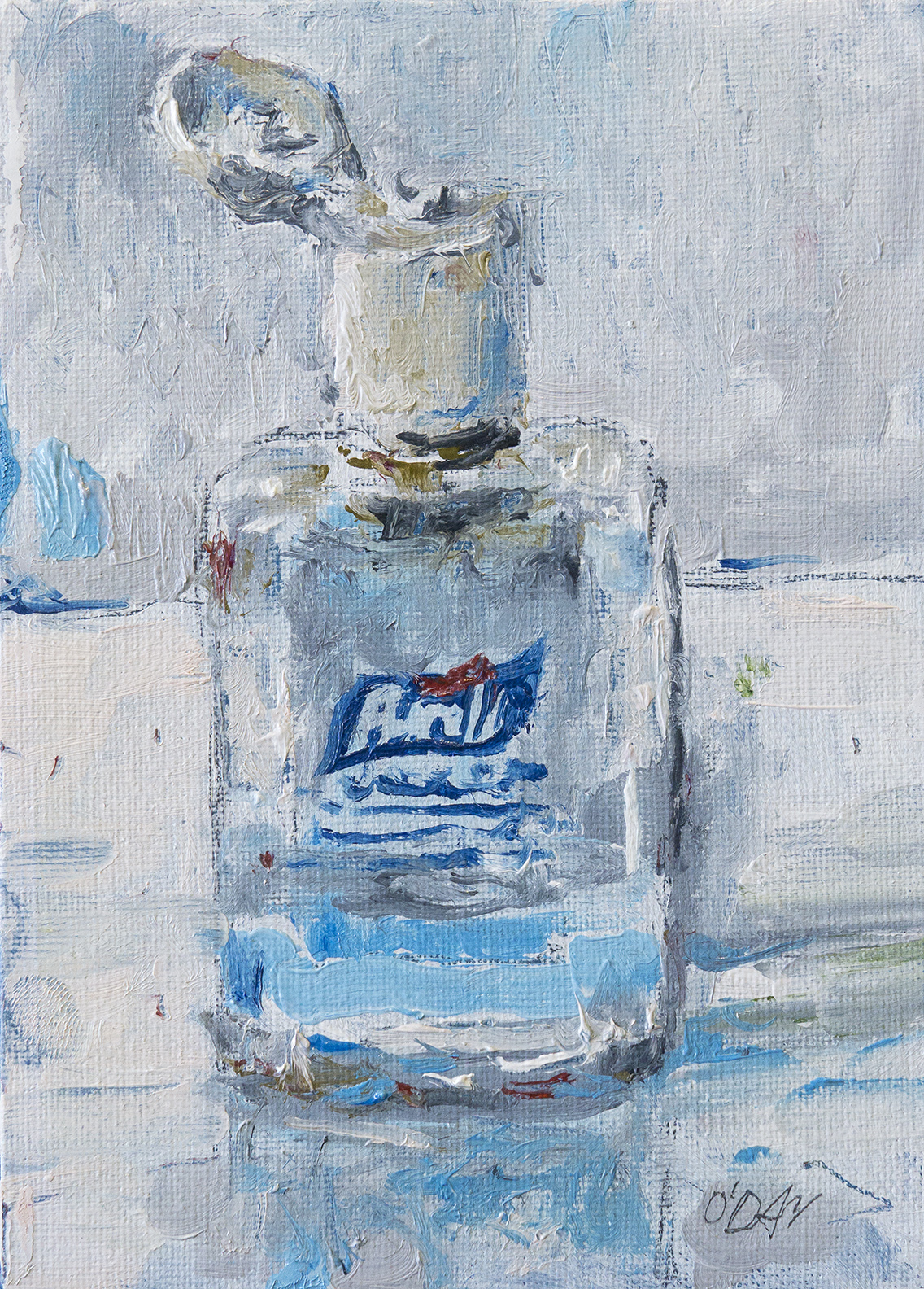 """Purell, oil on canvas, 7x5"""", 2020 SOLD"""
