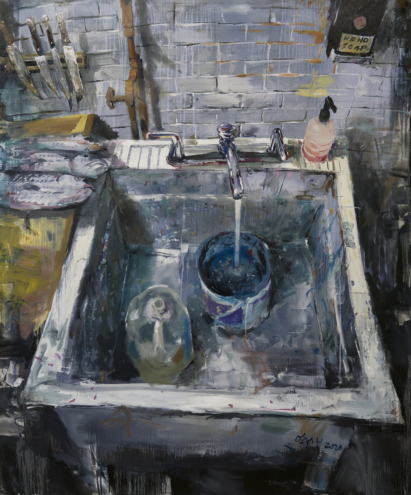 "Slop Sink, oil on canvas, 58x44"", 2020"