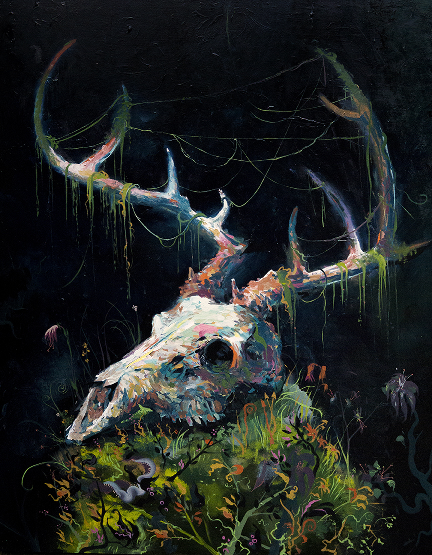 "Deer Skull, oil on canvas, 60x48"", 2017"