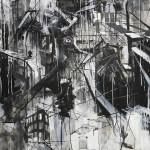 "It Moves, mixed media on canvas, 45x80"", 2018"