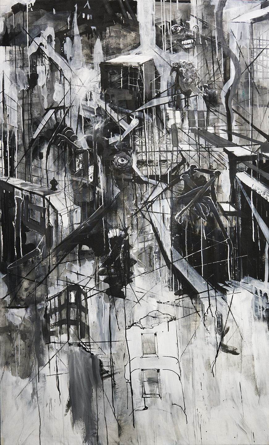 "It Moves, mixed media on canvas, 45x80"", 2018"