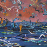 """Land of the Flame Yetis, oil on canvas, 40x60"""", 2017"""