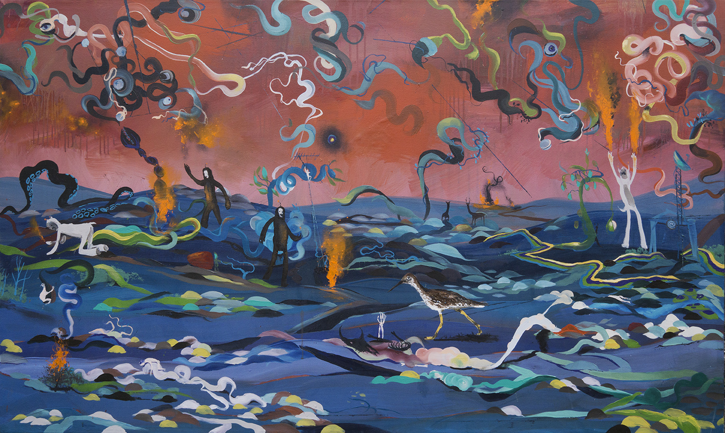 "Land of the Flame Yetis, oil on canvas, 40x60"", 2017"