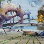 """Coronavirus, acrylic on 12x24"""" canvas, 2020 SOLD"""